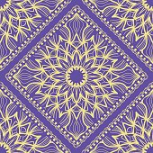 Design of a seamless ornament with Geometric Flower Pattern. Vector illustration. For Print Bandana, Shawl, Carpet