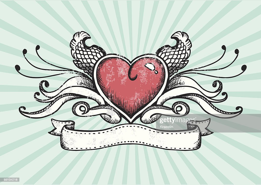 Design of a tattoo heart with wings