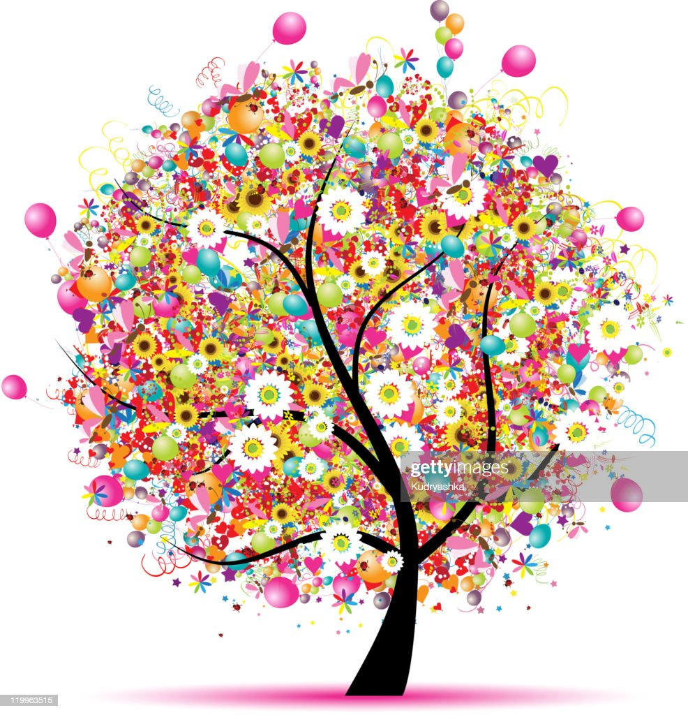 Design of a tree with flowers and balloons