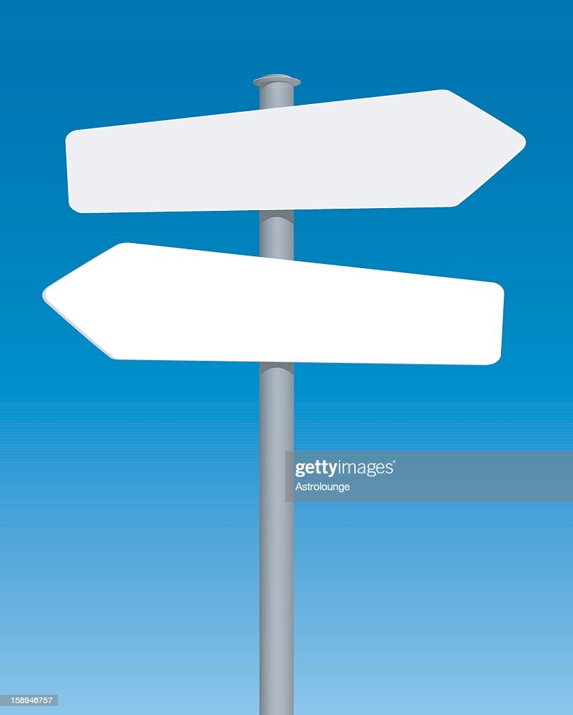 Design of blank road sign with blue background
