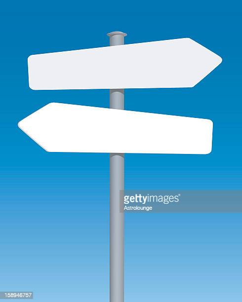 design of blank road sign with blue background - west direction stock illustrations