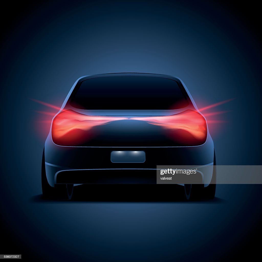 Design of car silhouette with red parking lights on, truck