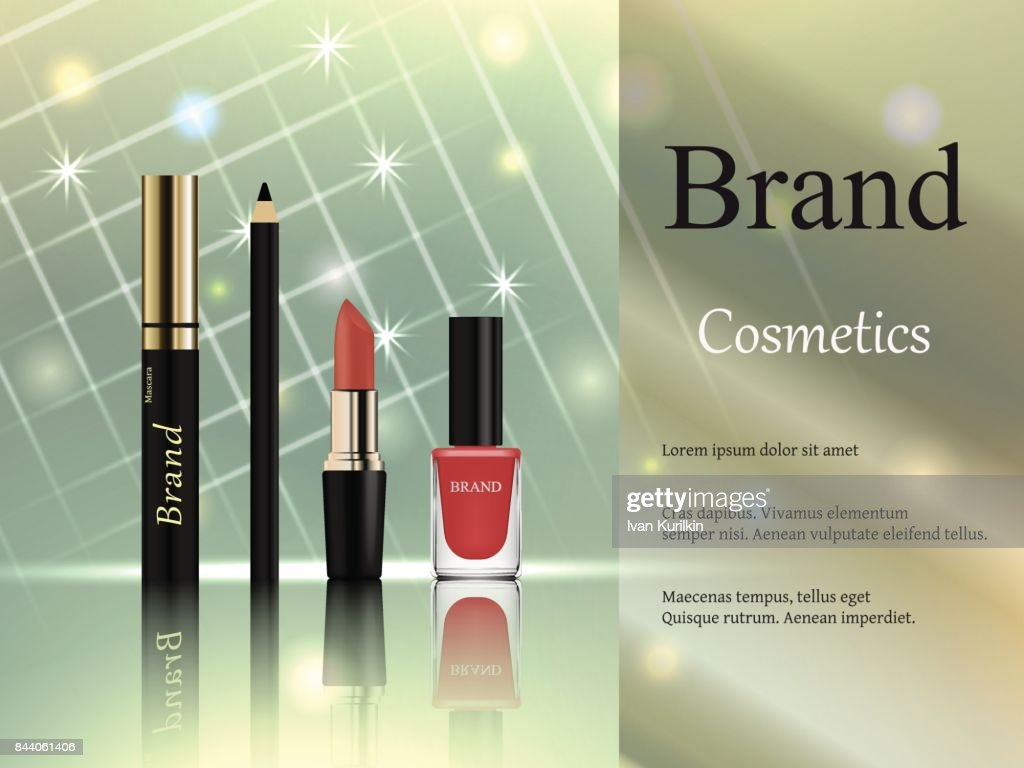 Design of cosmetics, a set of mascara with a golden cap, pink lipstick lipstick, eyeliner and nail polish on a light background with bright rays and stars. Advertisement, banner, 3d vector realistic