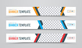 Design of horizontal vector white banners of standard size with a place for photos