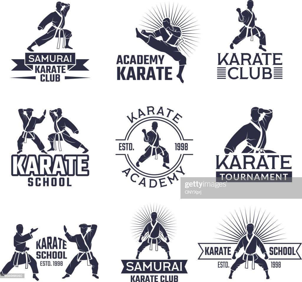 Design of martial sport labels set. Monochrome badges set isolate on white