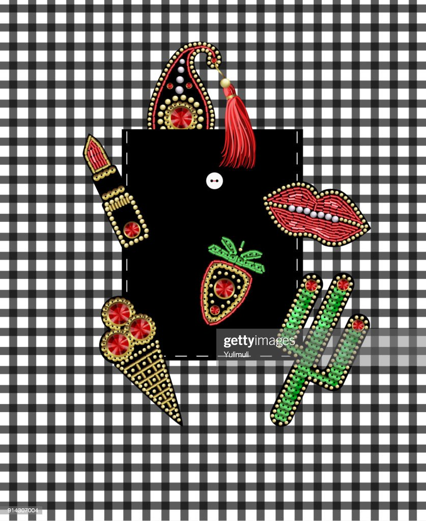 Design of pocket of shirt from patches with embroidery sequins and beads. Cactus, berry, paisley, lipstick, ice cream stickers.