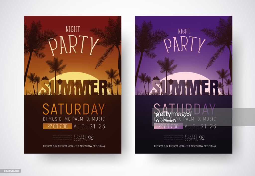 Design of posters for a night summer party.