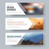 Design of standard horizontal web banners with space for photo and text.
