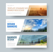 Design of standard white horizontal web banners with space for images and text.