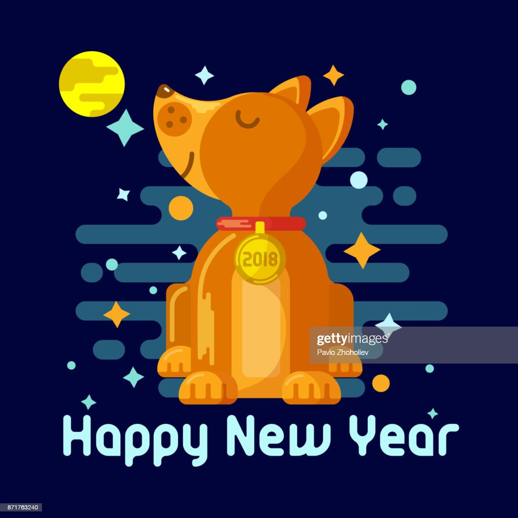 Design Of The New Years Greeting Card 2018 Year Of The Dog In The