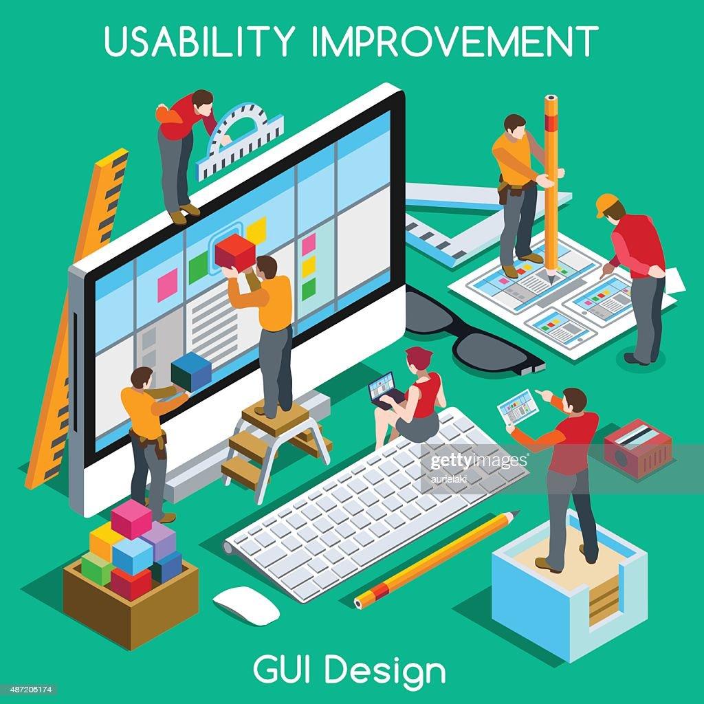 GUI UX Design People Isometric. Jpg. Jpeg. Eps. Vector.
