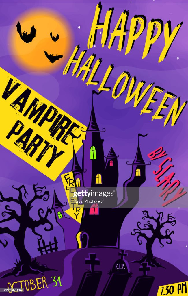 Design poster for Halloween party for print and internet. Vector illustration.
