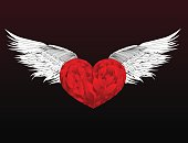 Design red heart with wings. Vector. Isolated on white background