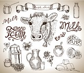 Design set with cow, milk, dairy products, banner and lettering