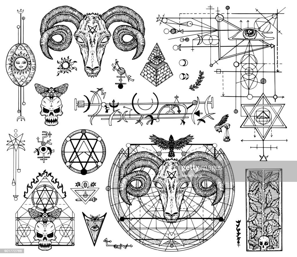 Design set with graphic drawings of mystic and religions and devil symbols