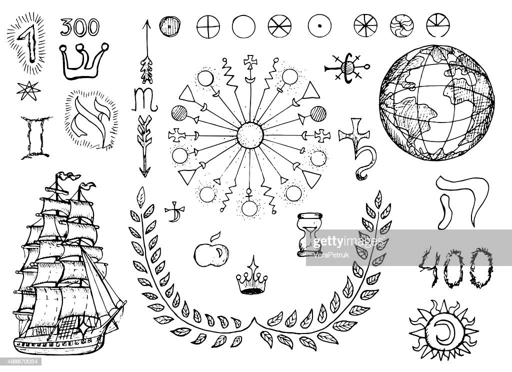 Design set with mystic and geographical symbols