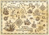 Design set with nautical decorative elements, fantasy creatures, pirate treasure map details