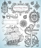 Design set with old nautical elements, sailing ship, anchor, frames and borders