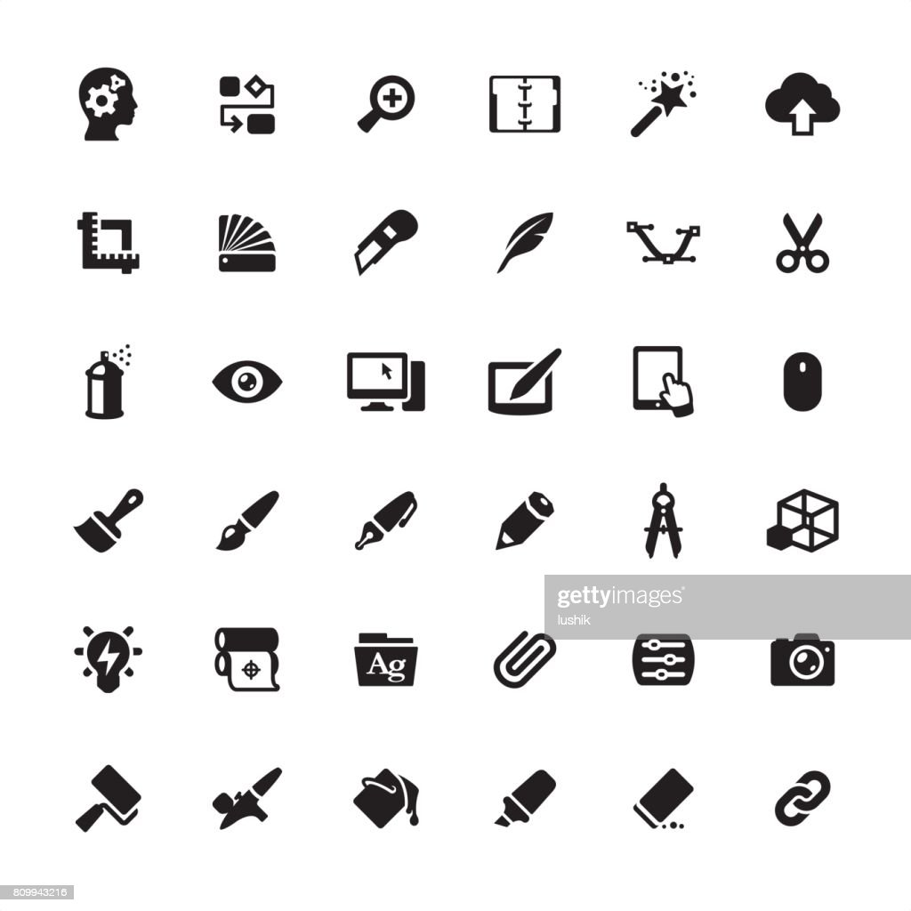 Design Studio Equipment icons set