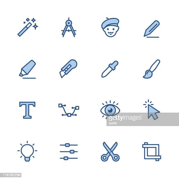 design studio - pixel perfect blue outline icons - proofreading stock illustrations, clip art, cartoons, & icons