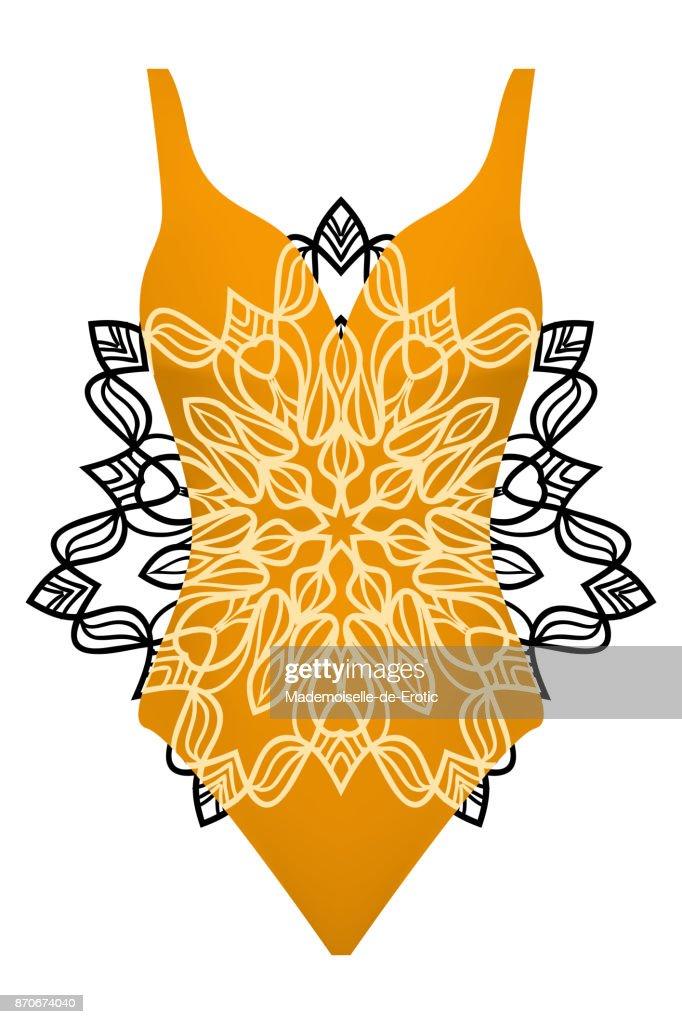 design swimsuit with mandala ornament. fashion vector illustration.