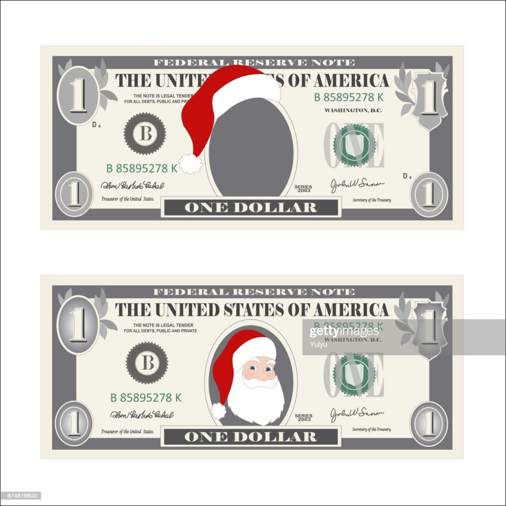 Design Template 1 Dollar Banknote With Santa Claus One Dollar Bill ...