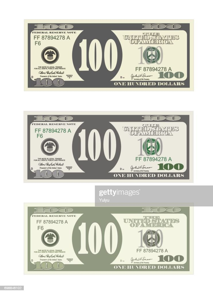 Design Template 100 Dollars Banknote Vector Art   Getty Images