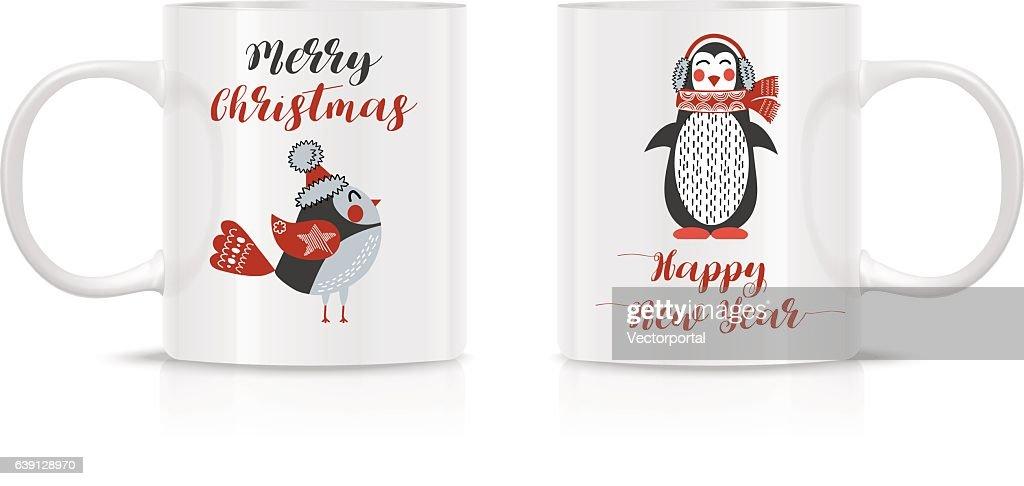 Design Template for Mock Up. Vector. Two mug mock-up.