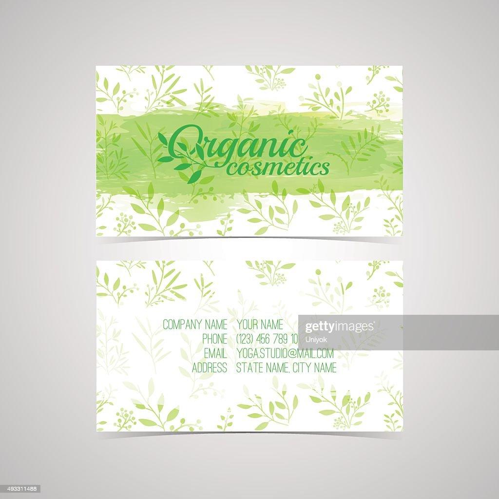 Design Template For Organic Cosmetics Business Card Vector Art ...