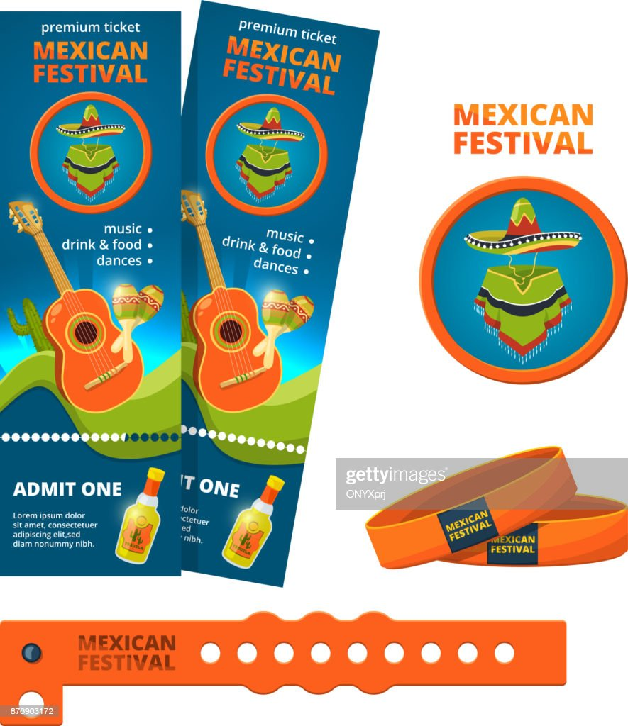 Design template for ticket and entrance bracelet of concert or festive party