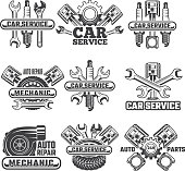 Design template of labels and badges with automobile tools and details