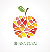 Design template with cut out multicolor apple