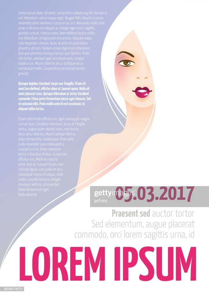 Design template with face of a beautiful woman with long hair