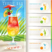 Design template with infographic elements - Tropical beach bar menu
