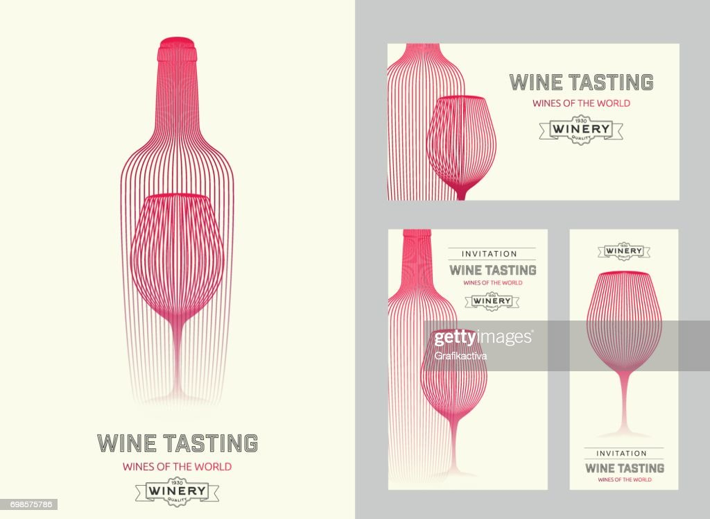 Design template with modern illustration of wine glass and bottle