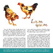 Design template with watercolor hens