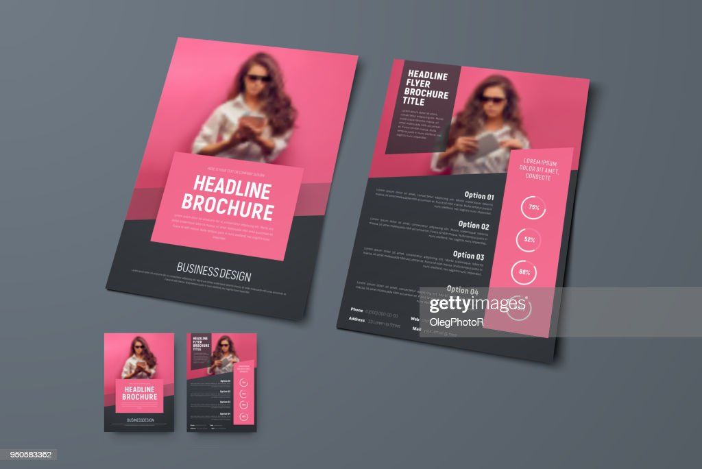 Design the front and back pages of the brochure with pink rectangular elements and a place for photos.