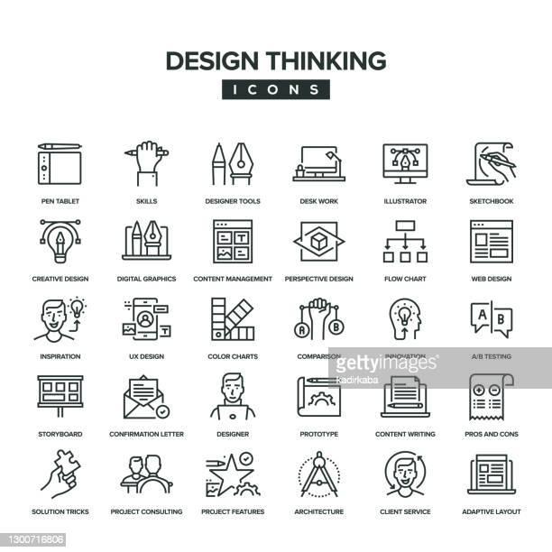 design thinking line icon set - storyboard stock illustrations