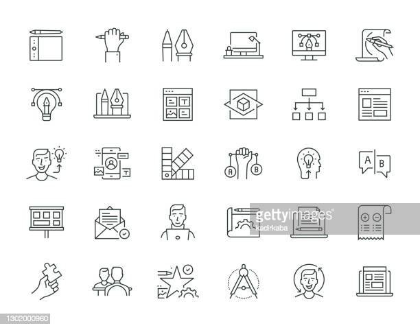 design thinking thin line series - storyboard stock illustrations