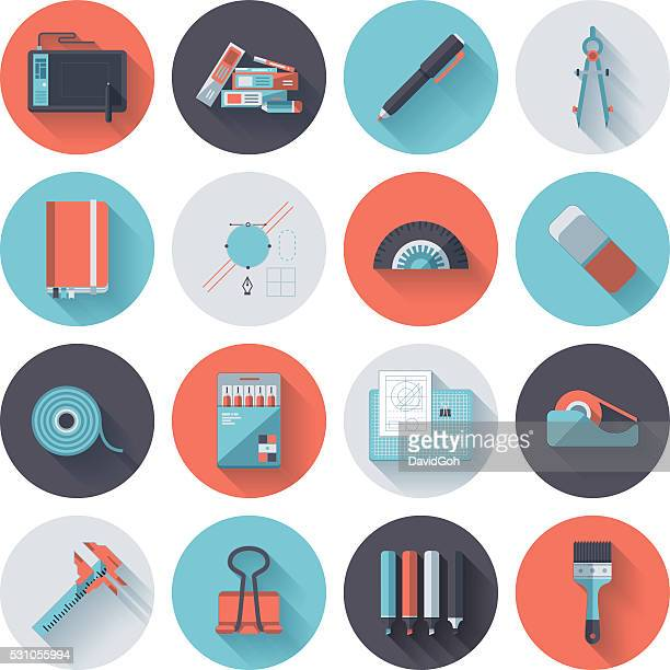 design tools icon set - protractor stock illustrations, clip art, cartoons, & icons