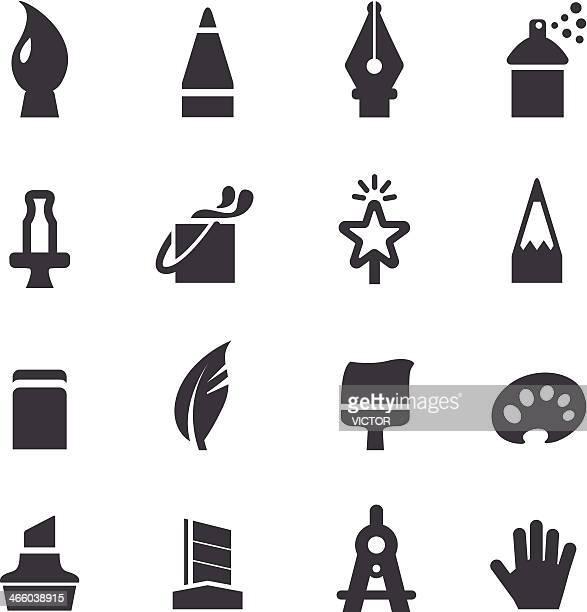 ilustraciones, imágenes clip art, dibujos animados e iconos de stock de iconos de herramientas de diseño de acme serie - plumadeescribir