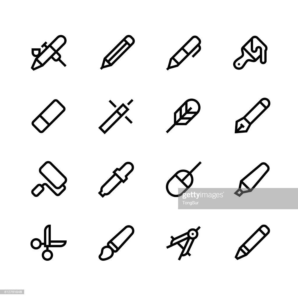 Design tools icons - line - black series