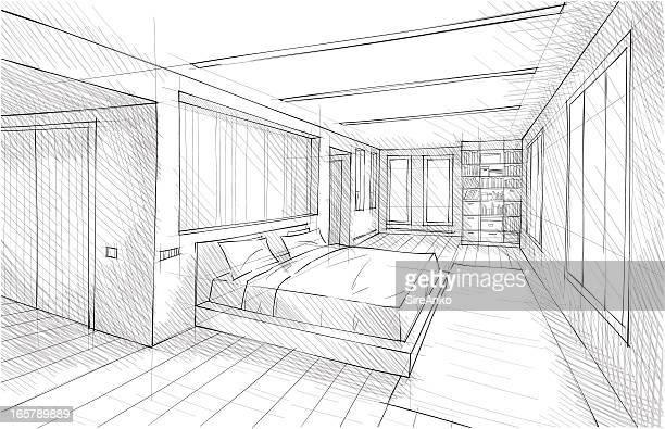 design - bed furniture stock illustrations, clip art, cartoons, & icons