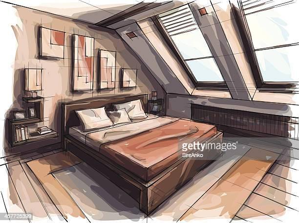 design - bed furniture stock illustrations