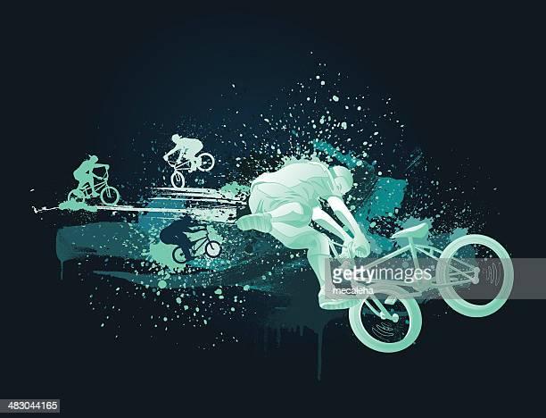 ilustrações, clipart, desenhos animados e ícones de design de bmx - esportes extremos