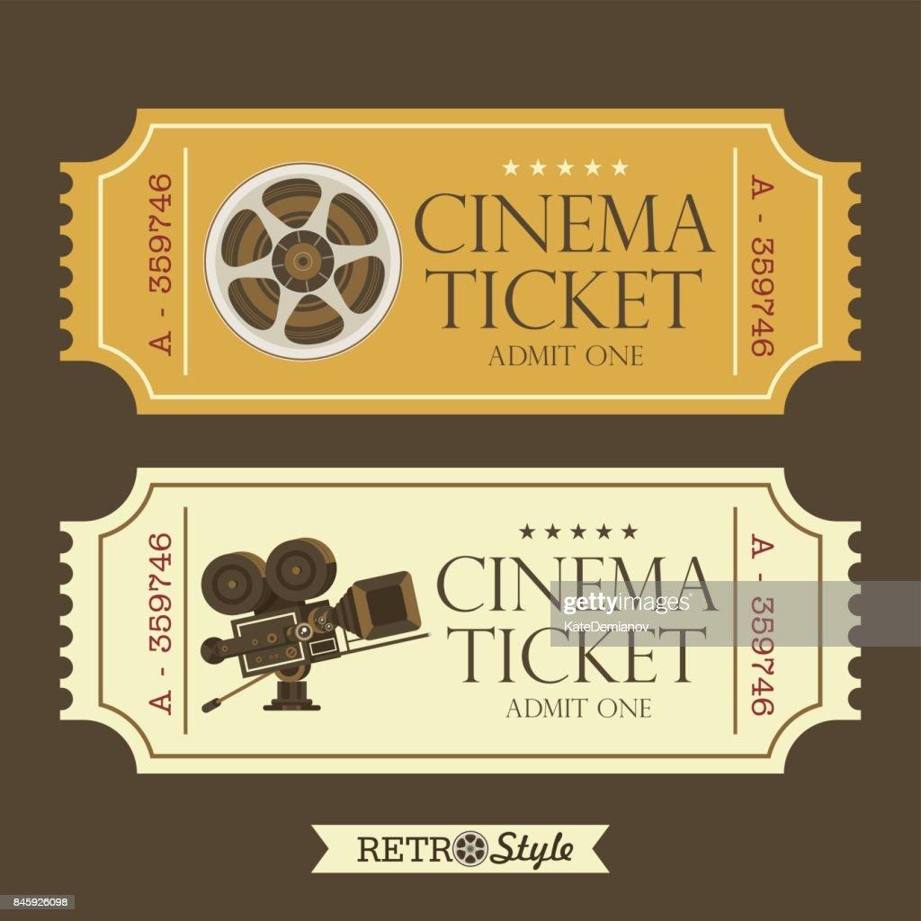 Design vintage movie tickets. Retro cinema. Vintage movie camera and film reel.