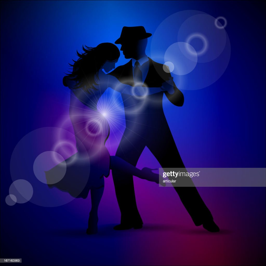 Design with couple dancing tango on dark background.