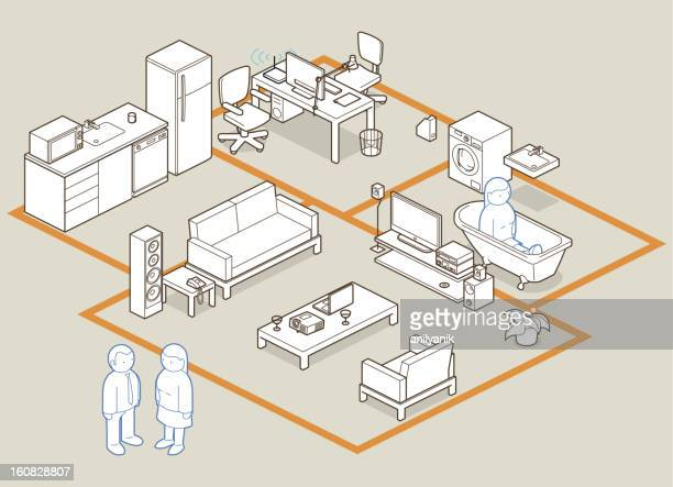 design your home / office - house interior stock illustrations, clip art, cartoons, & icons