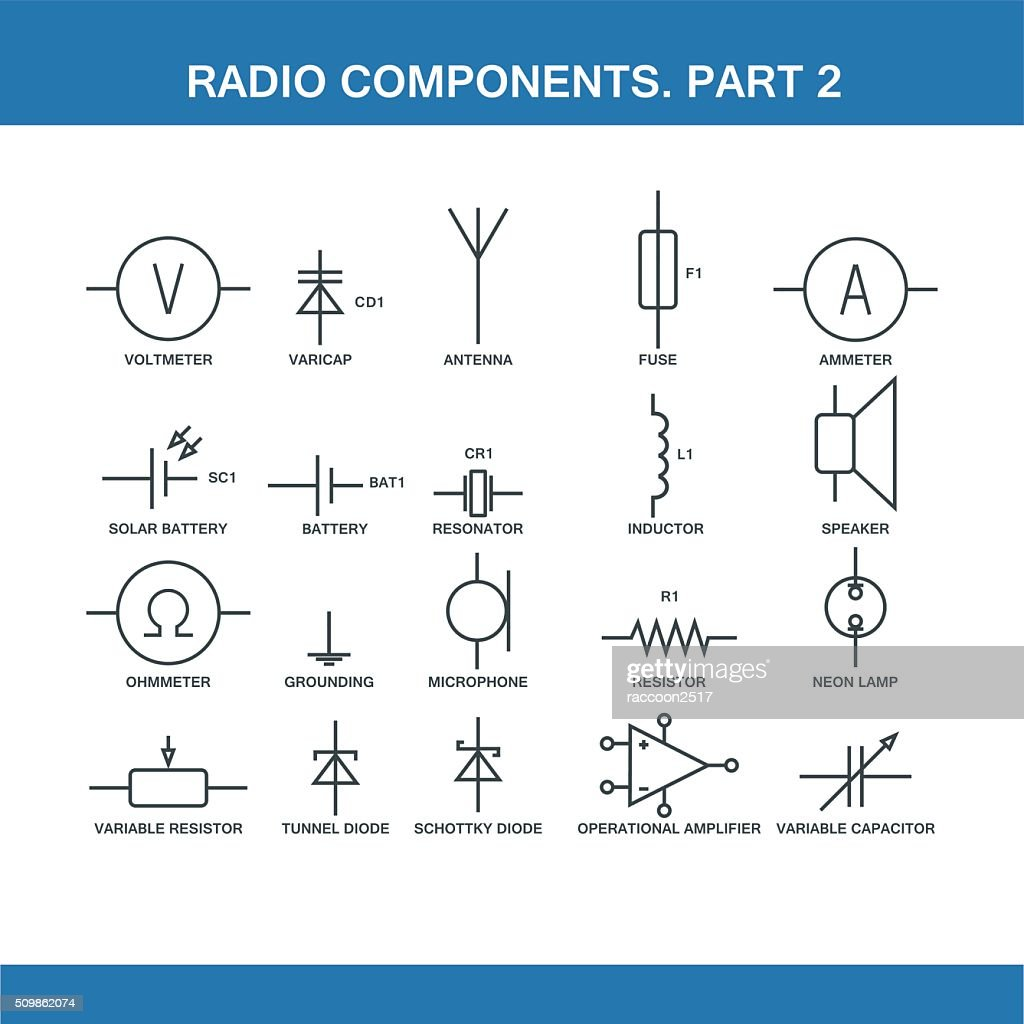 designation of components in the wiring diagram : Vector Art