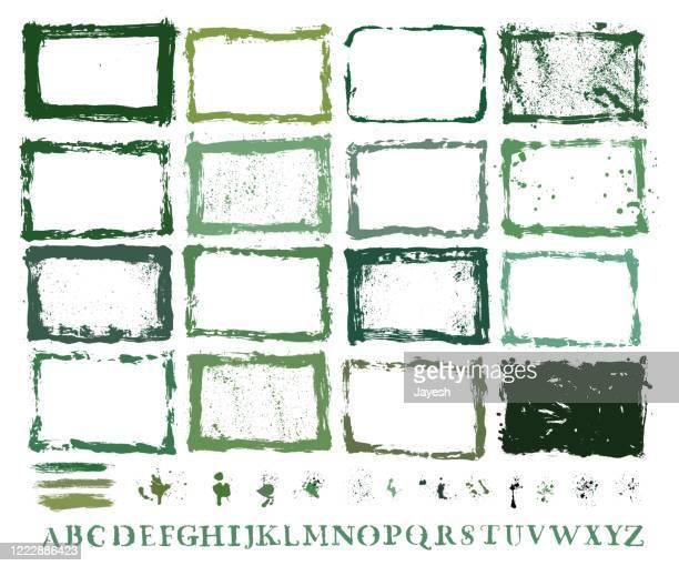 designer essentials: painted borders, paint splashes, hand stenciled letters, designer set collection kit - storyboard stock illustrations